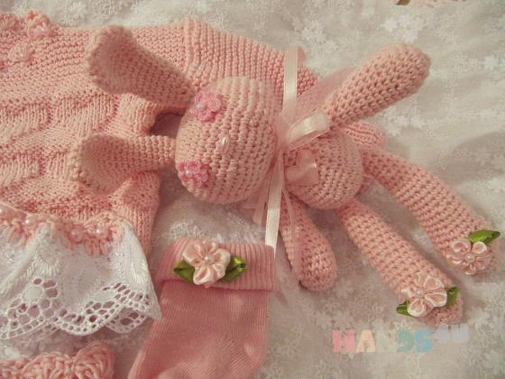 Купить Комплект для Принцессы Soft and Pink, Одежда, Для новорожденных, Работы для детей ручной работы. Мастер Юлиана Илотовская (Ilotoshka) . розовый