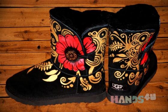 Купить Угги  Цветок, Обувь ручной работы. Мастер Анастасия Аникеева (anastasiya) . зимняя обувь