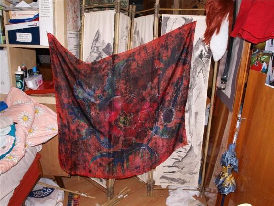 Купить шелковый платок Маки, Платки, Шали, палантины, Аксессуары ручной работы. Мастер   (Kiira) . платок