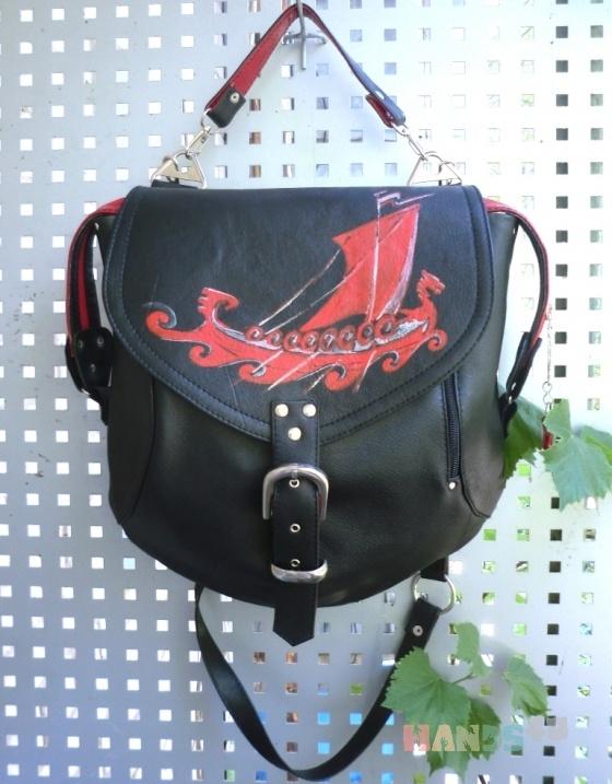 сумка-рюкзак кожаная Викинг.