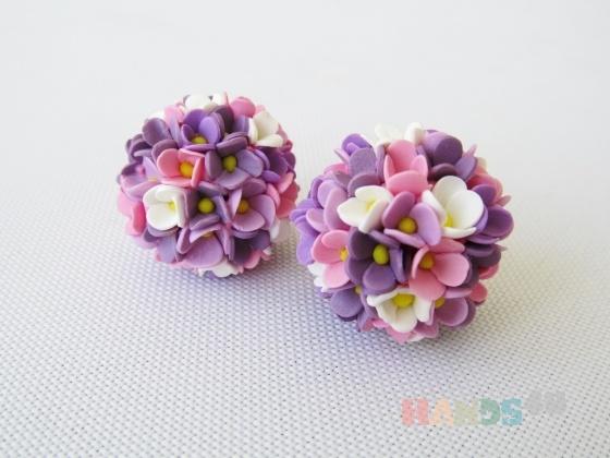 Купить серьги цветочные шары, Полимерная глина, Серьги, Украшения ручной работы. Мастер Лариса Соколова (LaraPlus) .