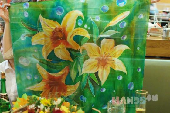 Купить Шелковый платок Лилии, Платки, Шали, палантины, Аксессуары ручной работы. Мастер   (Kiira) . платок