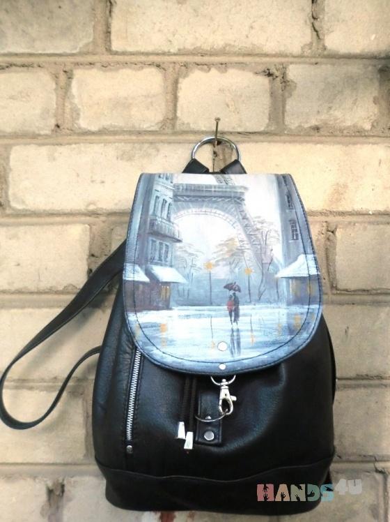 Рюкзак кожаный Париж Дождь.