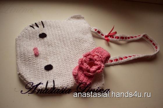 """Вязаная сумка  """"Hello Kitty """""""