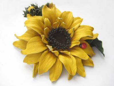 Онлайн мастер-класс цветы из кожи. Подсолнух.