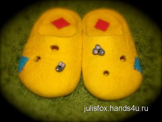 Купить валяные тапочки, Обувь ручной работы. Мастер Юлия Быханова (julisfox) .