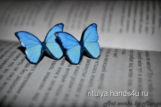 Купить Бабочки, Полимерная глина, Серьги, Украшения ручной работы. Мастер Маргарита Закиева (Ritulya) .