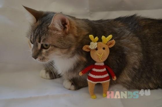 Купить Маленький новогодний олень, Другие животные, Зверята, Куклы и игрушки ручной работы. Мастер Александра Ташу (alexiia) .