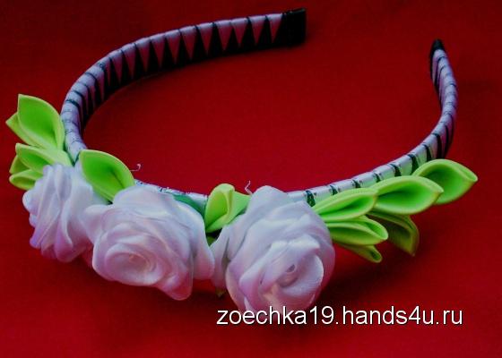 Купить Ободок Белые розы, Текстильные, Диадемы, обручи, Украшения ручной работы. Мастер Зоя Полунчаеа (zoechka19) .