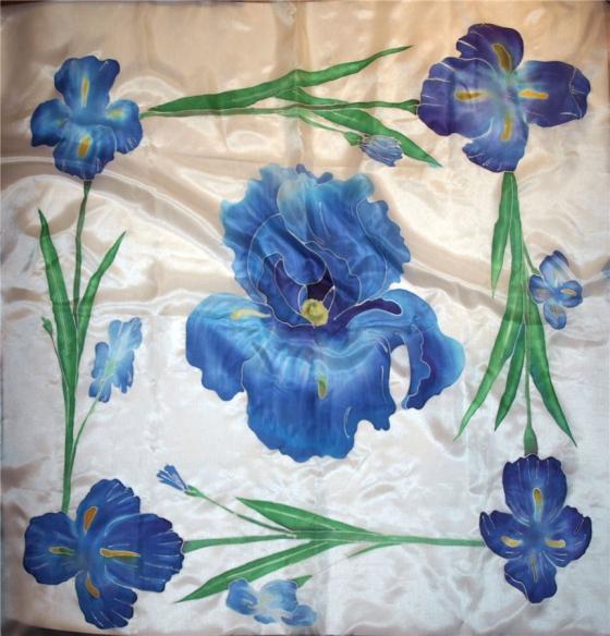 Купить шелковый платок Ирисы, Платки, Шали, палантины, Аксессуары ручной работы. Мастер   (Kiira) . платок