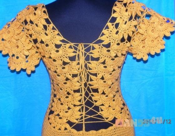 Купить платье желтое золотая осень, Вязаные, Коктейльные, Платья, Одежда ручной работы. Мастер Маргарита  (Margarita) . вязание на заказ