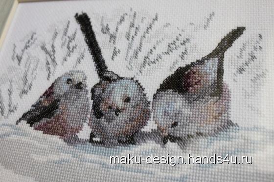Купить Набор для вышивания Длиннохвостые Синички, Ручной работы, Наборы для вышивания, Вышивка ручной работы. Мастер Марина Гончарова (MaKu-design) . вышивка
