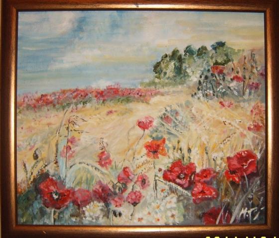 Купить картина  маки, Пейзаж, Картины и панно ручной работы. Мастер Татьяна Минаева (minaevatanya) .