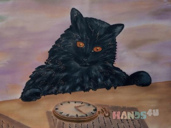 Купить Кот и часы, Животные, Картины и панно ручной работы. Мастер Маргарита М (tangomagnol) .