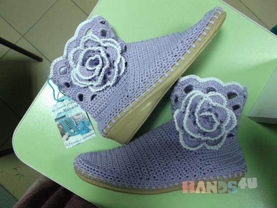 Купить Вязаные ботиночки, Летняя обувь, Обувь ручной работы. Мастер Надежда Зыбина (89293221436) . натуральный хлопок