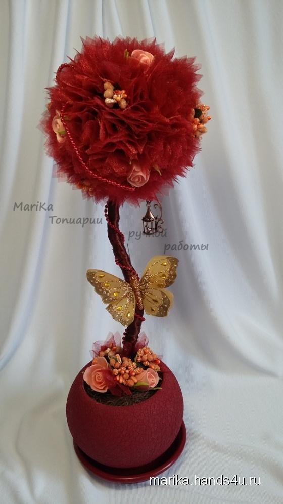 Купить Топиарии из бордовой органзы, Топиарии, Цветы и флористика ручной работы. Мастер Мария Коровина (MariKa) . интерьерный топиарий