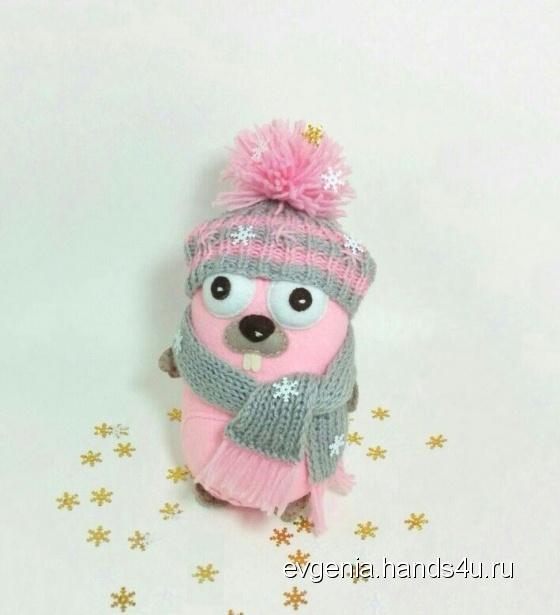 Купить Талисман Gopher розовый  в шапочке, Другие животные, Зверята, Куклы и игрушки ручной работы. Мастер Gopher Store  (Evgenia) .