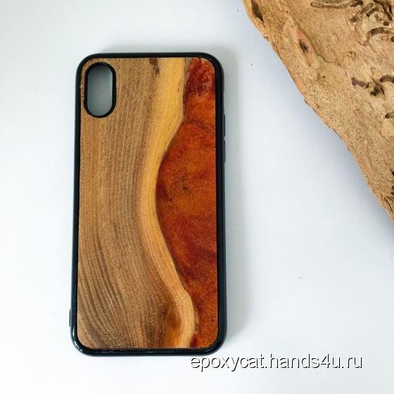 Купить Чехол iPhone X XS дерево эпоксидная смола, Персональные подарки, Подарки к праздникам ручной работы. Мастер Ксения Палкина (EpoxyCat) . чехол xs