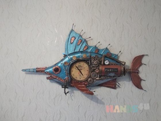 Купить Стимпанк часы рыба Марлин, Для дома и интерьера ручной работы. Мастер Юрий Ши (oberegs) . рыбы стимпанк