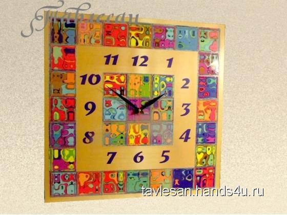 Купить Часы настенные Мозаика с квадратным циферблатом, Настенные, Часы для дома, Для дома и интерьера ручной работы. Мастер Светлана Тавлесан (Tavlesan) . настенные часы