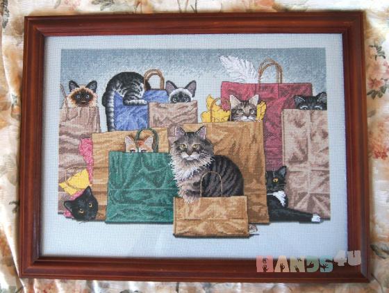 Купить Вышитая картина Коты в мешках, Животные, Картины и панно ручной работы. Мастер Екатерина Николсон (e-nicholson) .