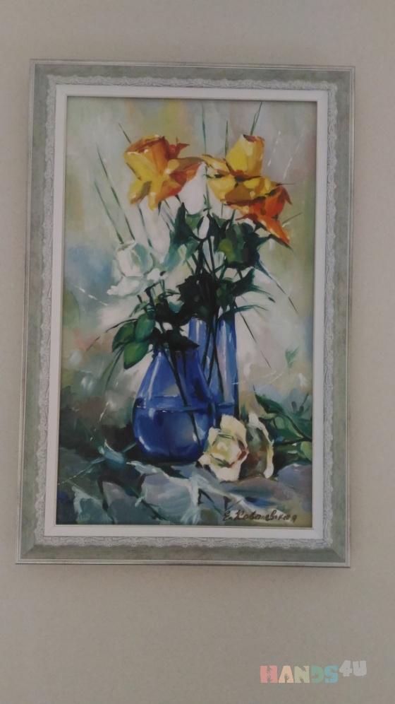 Купить Розы холст масло, Для дома и интерьера ручной работы. Мастер Елена Ковалевская (Lysia80) . краски масляные