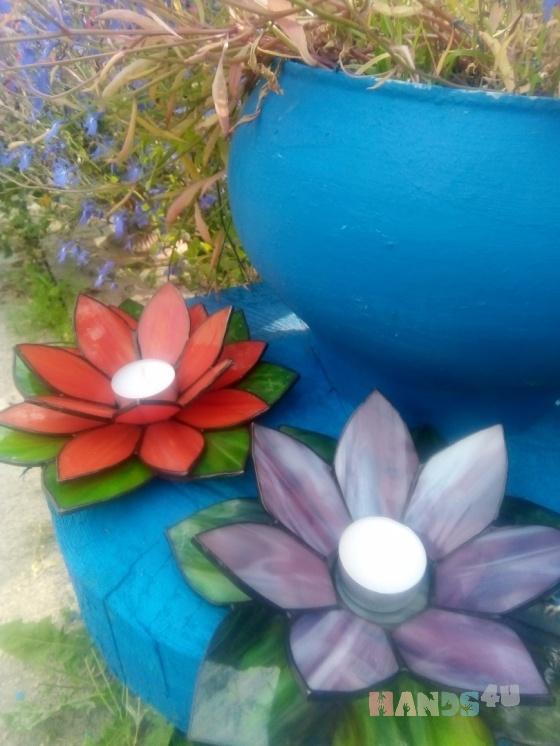 Купить подсвечник витражный цветок, Подсвечники, Для дома и интерьера ручной работы. Мастер Инна Исупова (InnaIs) . витраж