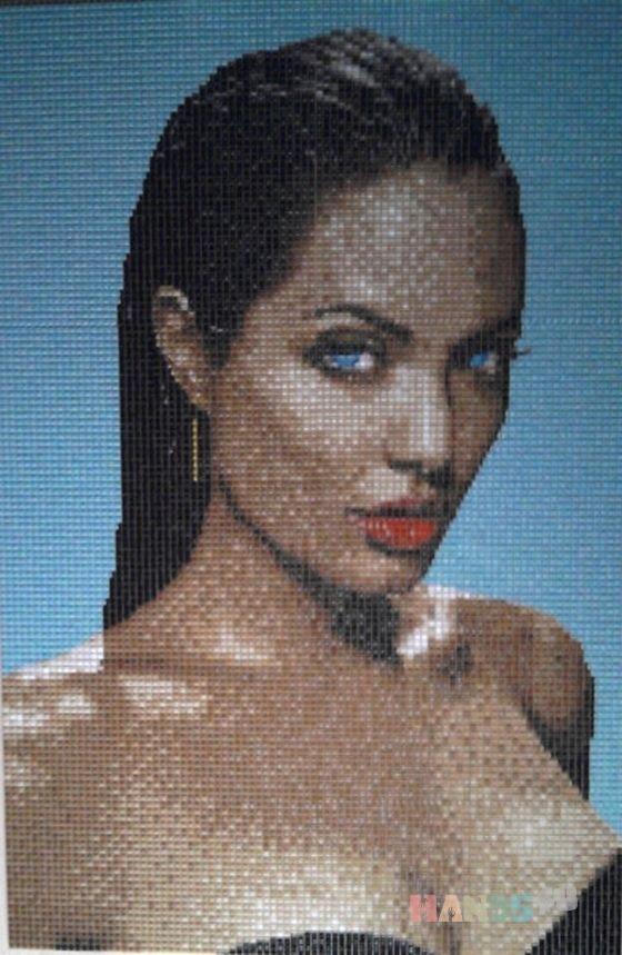 Купить Мозаичный портрет Анджелина, Люди, Картины и панно ручной работы. Мастер Сергей Брагин (bragins67) . стеклянная мозаика