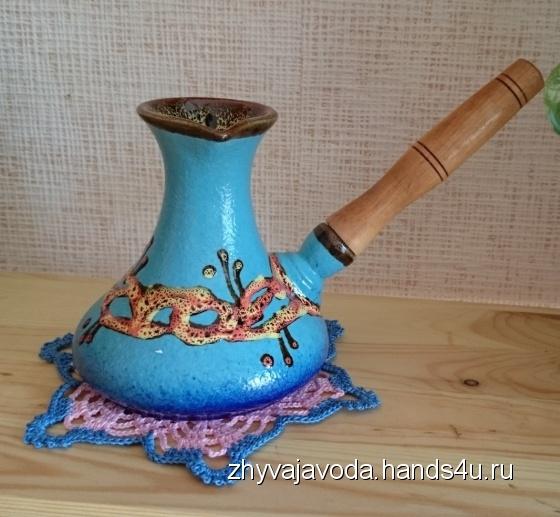 Купить Турка керамика синяя 270 мл, Чайники, кофейники, Посуда ручной работы. Мастер Анжела Кулиш (zhyvajavoda) . керамика