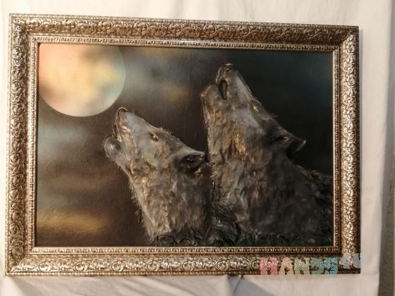 Купить Картина-панно Волки, Животные, Картины и панно ручной работы. Мастер Любовь Гусева (ludov) .