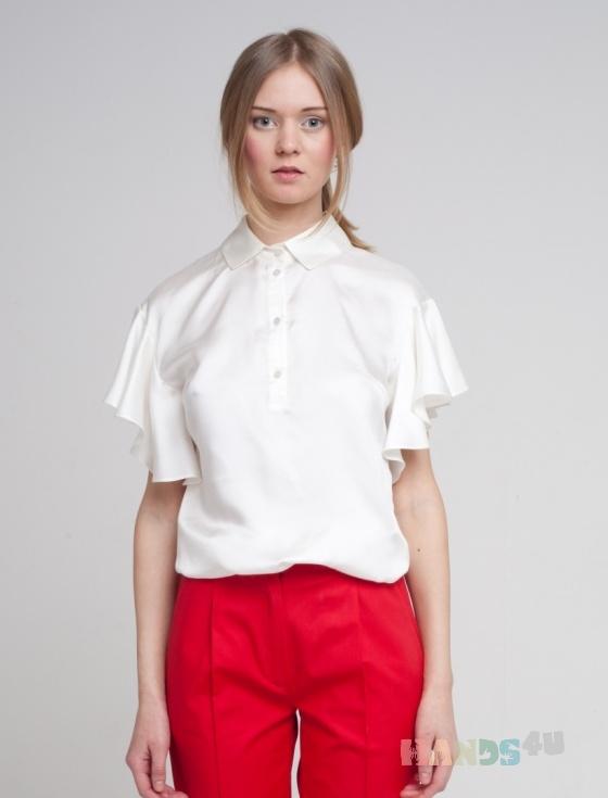 Купить Блузка белая с рукавом-волан, Блузки, Одежда ручной работы. Мастер Оксана ЛИ (sanastudio) . блуза летняя