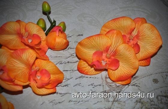 Купить Зажим для волос с орхидеей Оранж, Текстильные, Заколки, Украшения ручной работы. Мастер Ольга Ro (avto-faraon) . цветы в волосы