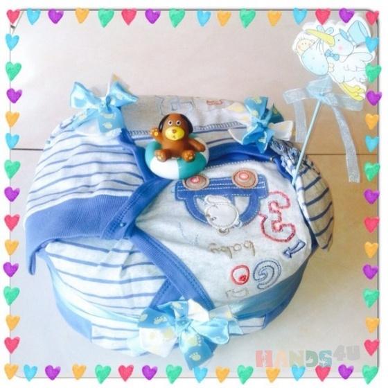 Купить Торт из панперсов для мальчика, Для новорожденных, Работы для детей ручной работы. Мастер Екатерина  (Katekvadrate) . подарок к выписке