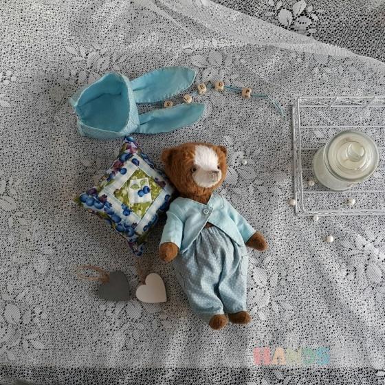Купить Мишка в голубом, Мишки, Мишки Тедди, Куклы и игрушки ручной работы. Мастер Ольга Юзмухаметова (Bozhena23) . коллекционный мишка