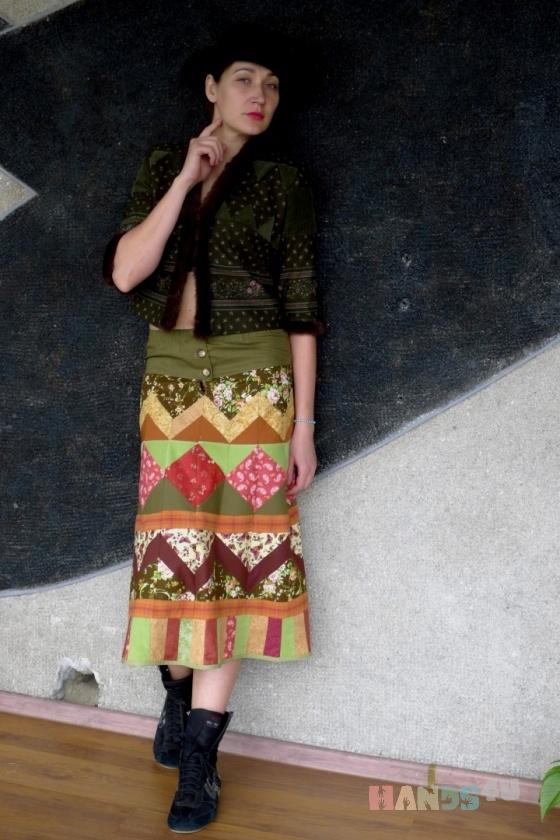 Купить Лоскутная юбкаПрогулка, Шитые, Юбки, Одежда ручной работы. Мастер Елена Топтыгина (oldkozy) . авторская ручная работа