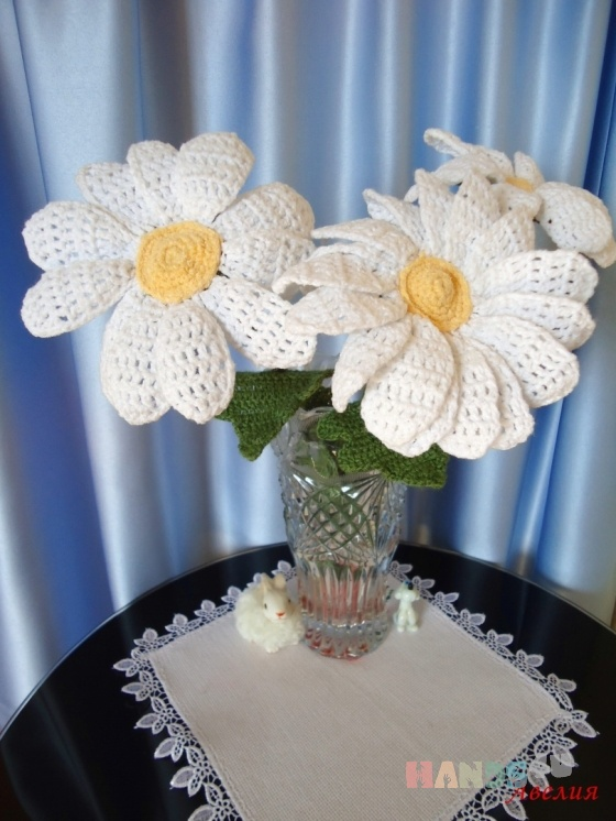Купить Вязаные ромашки, Вязаные, Букеты, Цветы и флористика ручной работы. Мастер   (Aveliya) . цветы