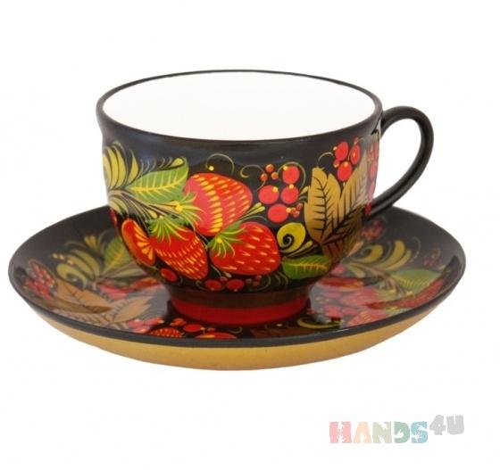 Купить Чайная пара с хохломской росписью, Сервизы, чайные пары, Посуда ручной работы. Мастер Александр Лаптев (khokhloma24) . холодный фарфор