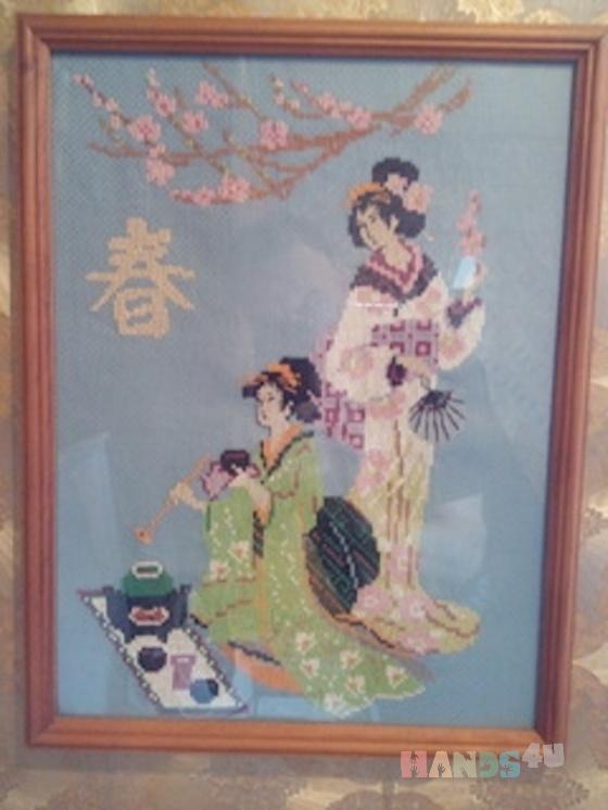 Купить Вышивка Японская церемония, Для дома и интерьера ручной работы. Мастер Дмитрий Правдин (dd300120) .