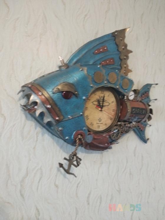 Купить Дизайнерские Часы , Для дома и интерьера ручной работы. Мастер Юрий Ши (oberegs) . рыбы стимпанк