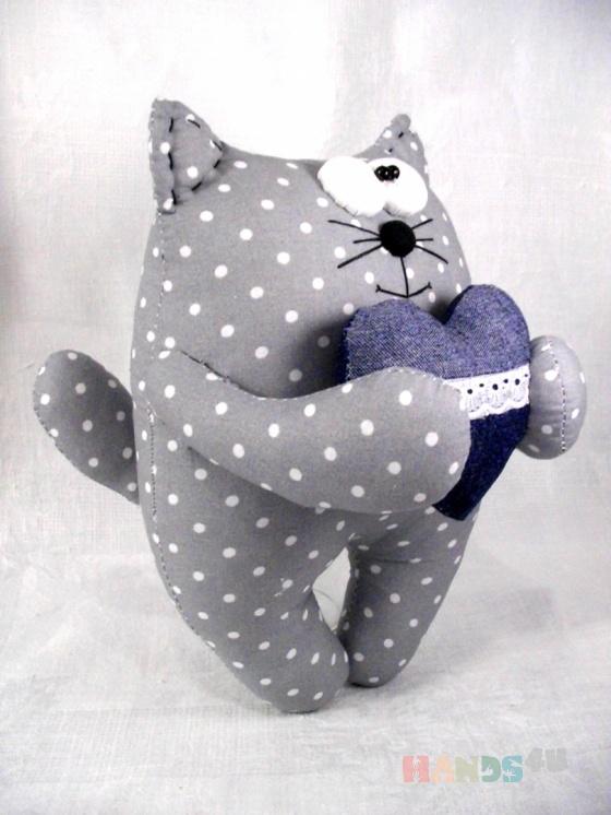 Купить Кот с сердечком, Коты, Зверята, Куклы и игрушки ручной работы. Мастер   (Polli-Co) .