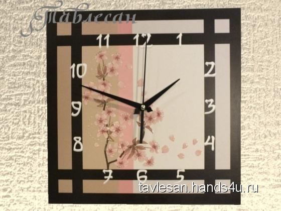 Купить Часы настенные Сакура в японском стиле, Настенные, Часы для дома, Для дома и интерьера ручной работы. Мастер Светлана Тавлесан (Tavlesan) . настенные часы
