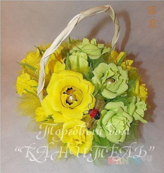 Купить Благоуханье желтых роз, Букеты из конфет, Букеты, Цветы и флористика ручной работы. Мастер Екатерина  (Kanitell) . лимон