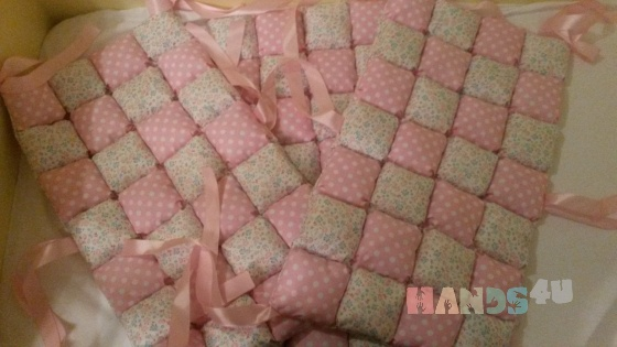 Купить Бортики бом бон розовые, Текстиль для детской, Детская, Для дома и интерьера ручной работы. Мастер Диёра Исмонжонова (masterdi) . ручная работа handmade
