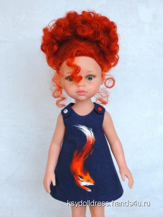 Купить Льняное платье с ручной росписью Firefox для куклы Paola Reina 33 см, Одежда для кукол, Куклы и игрушки ручной работы. Мастер Оксана Алексеева (Ksydolldress) . авторское платье