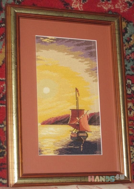 Купить Вышитая картина  Закат на море, Пейзаж, Картины и панно ручной работы. Мастер Ольга Ильина (esyi) . вышивка крестиком