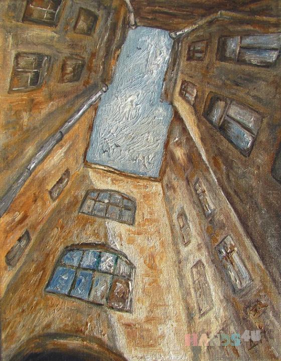 Купить Питерский дворик, Город, Картины и панно ручной работы. Мастер Проект Проект (art-vsplesk) . холст на подрамнике