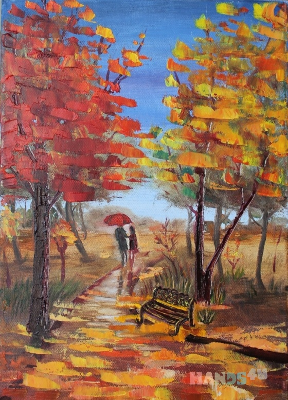 Купить Картина_масло_Кленовая_аллея(25х35см), Пейзаж, Картины и панно ручной работы. Мастер Кристина Художник (Spice-Art) .