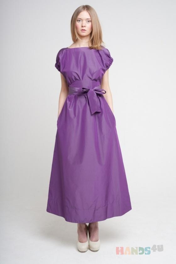 Купить Платье фиолетовое с резинкой по рукаву, Шитые, Повседневные, Платья, Одежда ручной работы. Мастер Оксана ЛИ (sanastudio) . авторское платье