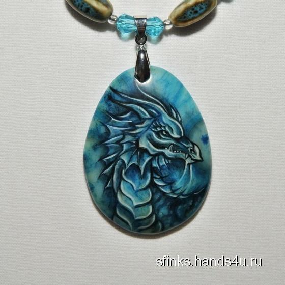 Купить Кулон  Blue dragon , Роспись, Кулоны, подвески, Украшения ручной работы. Мастер Ирина Лебедева (sfinks) . дракон
