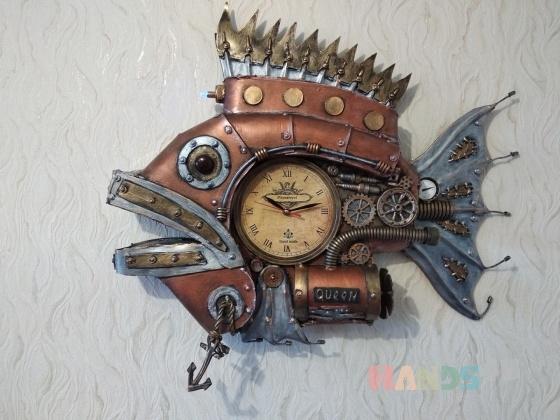 Купить Стимпанк часы рыба Королева, Для дома и интерьера ручной работы. Мастер Юрий Ши (oberegs) . рыбы стимпанк